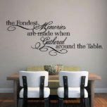 "The Fondest Memories Kitchen Wall Decal<br><div class=""desc"">""The Fondest Memories Are Made When Gathered Around The Table"" is the perfect quote for your kitchen or dining room. Customer inspired from someone who wanted this in their formal dining room where extended family often visits for dinners.</div>"