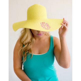 Yellow Floppy Beach Hat w/Pink Script Monogram