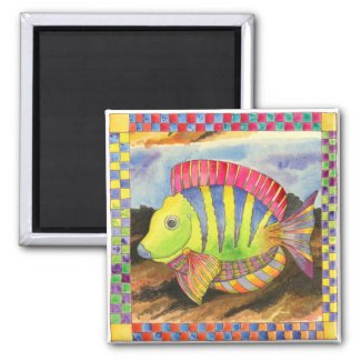 Fish with Checkered Border #3 2 Inch Square Magnet