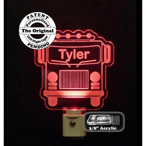 Personalized Red Firetruck LED Night Light