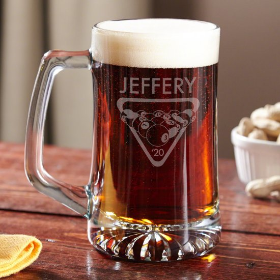 Billiard Balls Custom Engraved Beer Mug