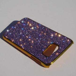 Samsung Galaxy S6 Gold Chrome w/ Purple Crystals