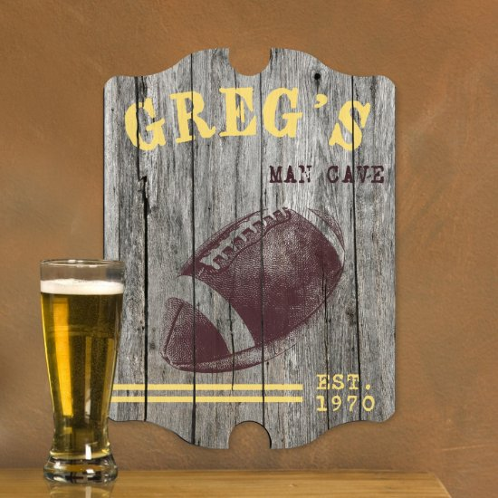 Personalized Man Cave Bar Signs - Football Plank