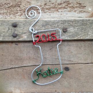 Personalized Aluminum Wire Stocking Ornament 2015