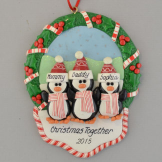 3 Penguins in Christmas Wreath Ornament
