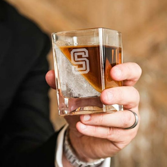 Unique Ice Rock Wedge with Engraved Whiskey Glass
