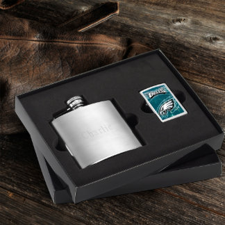 Brushed Flask & Philly Eagles NFL Zippo Lighter