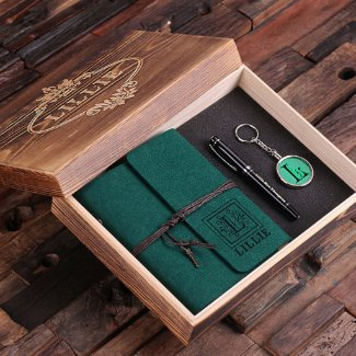 Journal, Pen & Keychain Gift Set - Hunter Green