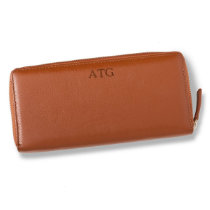Women's Chestnut Borello Leather Zip Wallet