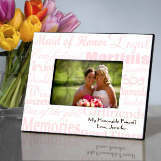 Pink on White Personalized Maid of Honor Frame Picture Frame