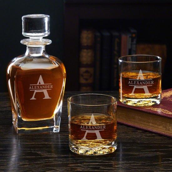 Whiskey Glasses Set with Oakmont Monogram Decanter