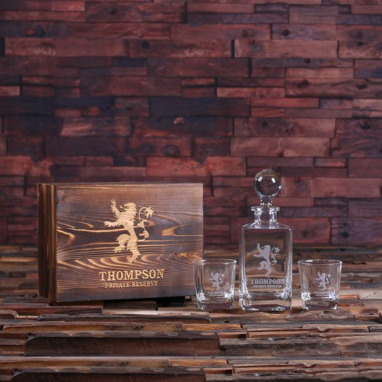 Personalized Whiskey Decanter, Glasses & Gift Box
