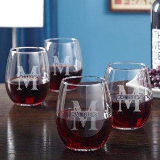 Set of 4 Oakmont Engraved Stemless Wine Glasses