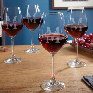 Set of 4 Oakmont Engraved Wine Glasses