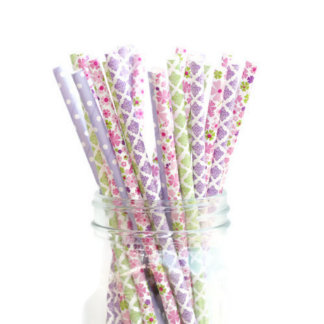 25pk of Pink, Purple and Green Paper Straws