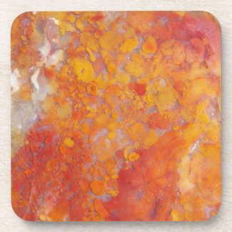 Orange Moss Agate Pattern Coaster