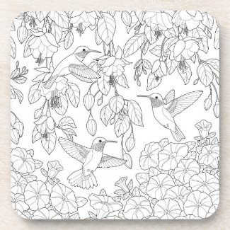 Hummingbirds and Flowers Adult Coloring Page Drink Coaster