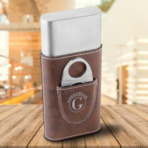 Brown Circle Monogram Faux Leather Cigar Holder