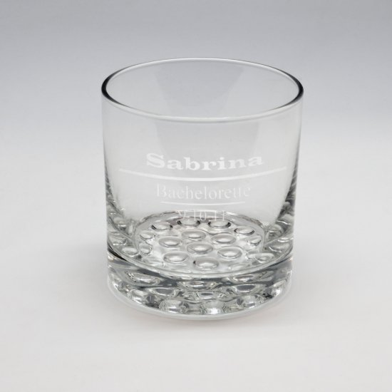 Sand Etched Whiskey Glass #17