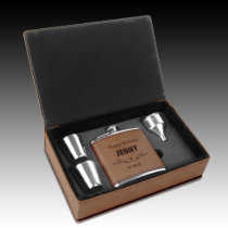 Brown Leatherette Engraved Flask Gift Set