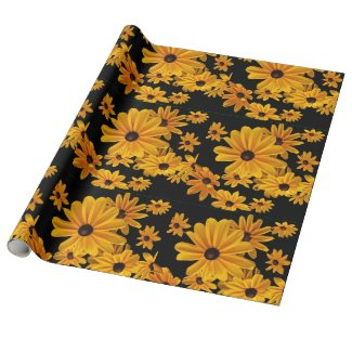 Black Eyed Susan Flowers Yellow Wrapping Paper