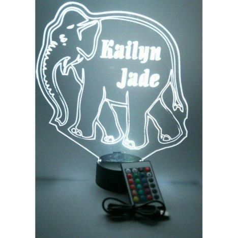Elephant Night Light Up Lamp LED Personalized