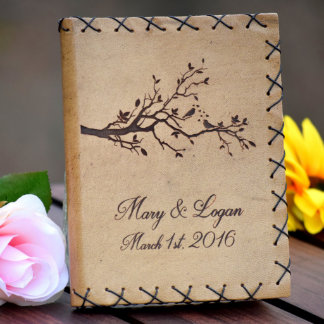 Personalized Rustic Leather Wedding Guest Book