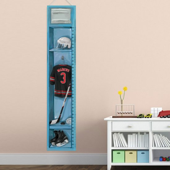 Personalized Sports Locker Growth Chart - Hockey