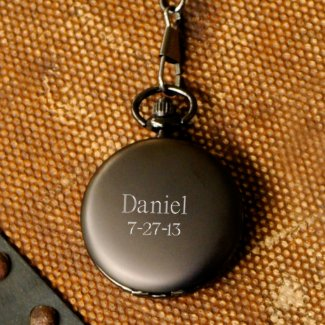 Personalized Gunmetal Pocket Watch
