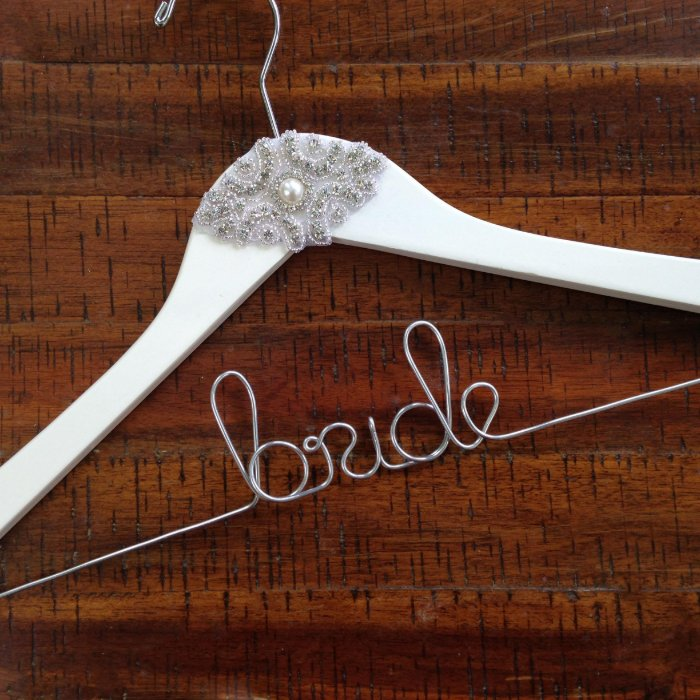 Personalized wedding dress hanger zazzle for Personalized wedding dress hangers