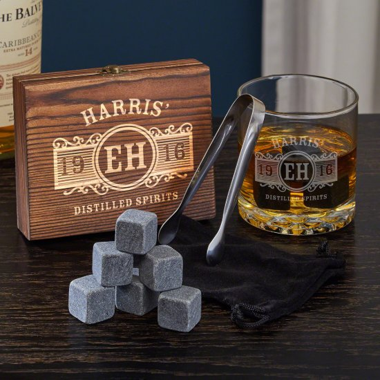 Chilling Stones Set with Marquee Whiskey Glass