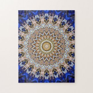 Intricate Blue and Brown Mandala Jigsaw Puzzle