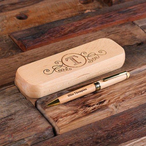 Elegant Engraved Monogram Case and Wooden Pen