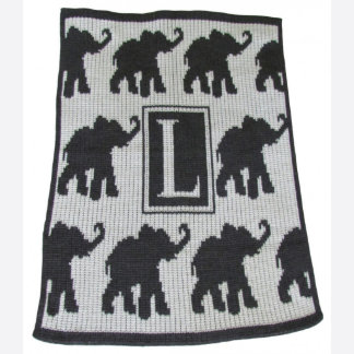 "Monogrammed Walking Elephants ""L"" Throw Blanket"