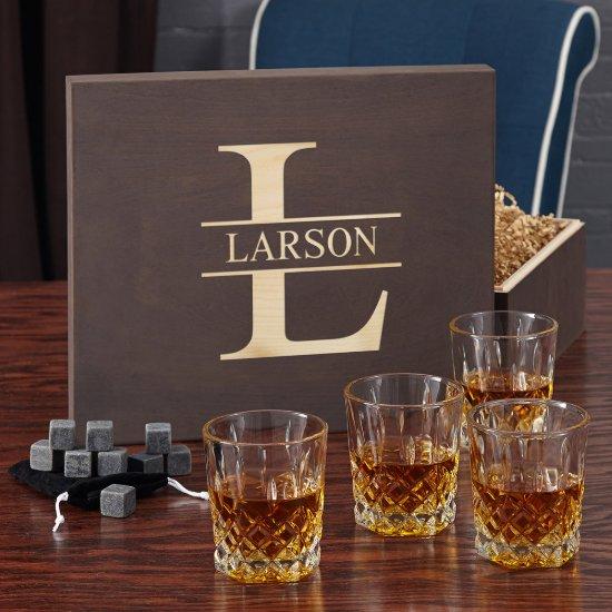 Oakmont Monogram Stones Set and Whiskey Glasses