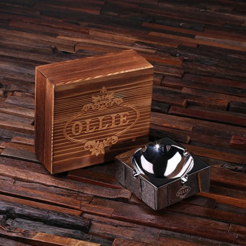 Gift Box  High Polished Etched Cigar Ashtray