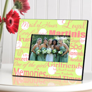 Green Dots Personalized Maid of Honor Frame Picture Frame