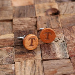 """Engraved Classic Round Men's Wooden Cufflinks<br><div class=""""desc"""">Unique classic wood cuff links,  monogrammed and personalized to your request. Cuff link finish available in Cherry Wood and White Oak.</div>"""