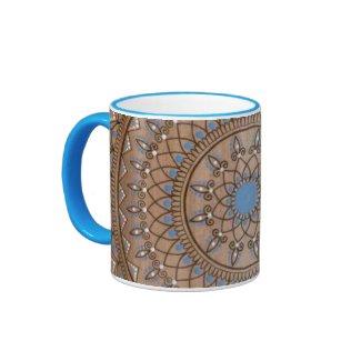 Intricate Hand Drawn Brown And Blue Mandala Ringer Mug