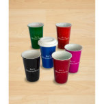 "Ceramic Coffee Cup<br><div class=""desc"">Start your day with a cup of your favorite brew in your own personalized Ceramic Coffee Cup. This cup holds 14 ounces and comes in six brilliant colors. Dual-wall insulation helps maintain the temperature of your beverage while keeping your hands protected. Each cup comes with a silicone lid, are microwave...</div>"