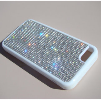 iPhone 5C White Rubber Case w/ Clear Crystals