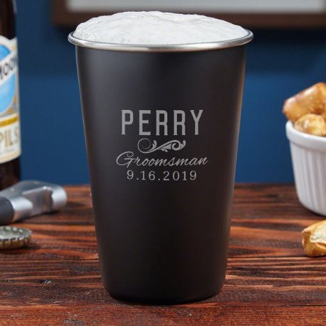 Engraved Classic Stainless Steel Pint Glass