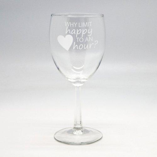 Custom Sand Etched 10.5 oz Wine Glass - Happy Hour