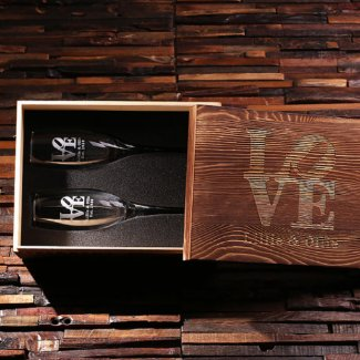 Engraved Gift Box and His & Hers Champagne Glasses