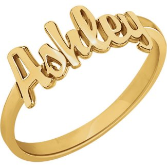 Custom 14K Gold Vermeil Script Name Ring