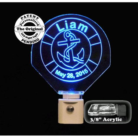 Personalized Baby Anchor Blue LED Night Light