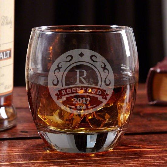 Unique Elliston Engraved 12 oz. Whiskey Glass