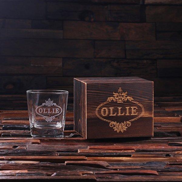 Personalized Whiskey Scotch Glass Set w/Wood Box