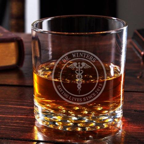 Engraved Medical Arts Buckman Whiskey Glass