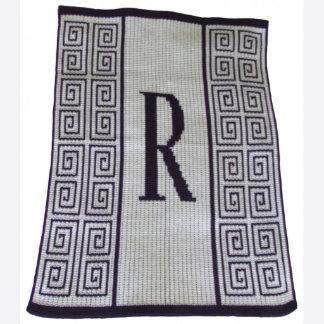 "Initial Scroll Stroller ""R"" Throw Blanket"